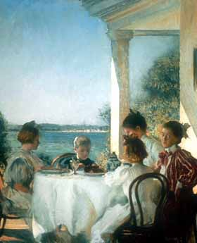 Edmund Charles Tarbell, Breakfast on the Piazza, 1902, oil on canvas, 36x29 3/4 inches, Private Collection